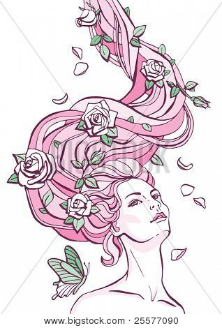 Fantasy portrait of a woman with roses in her long hair