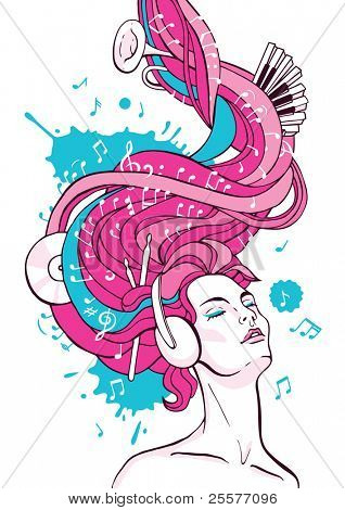 Fantasy illustration of dreaming woman listening music with headphones