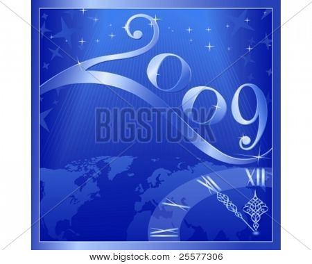 Blue 'Happy New Year 2009' card with a clock at 5 minutes to 12. Use of global colors, blends, linear gradients.