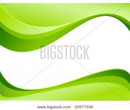 Green ecology wave background template. Abstract background with copy space for text. Linear gradients, blends, global colors.