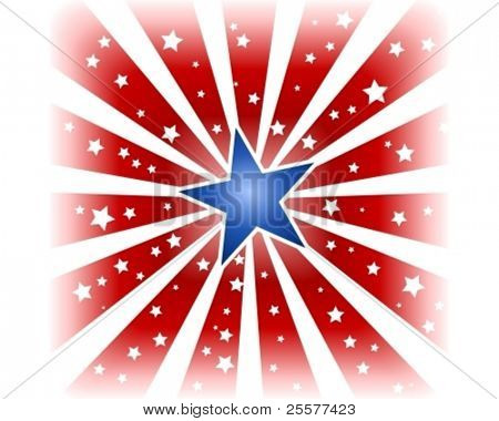 USA, 4th of july red white star burst with shiny blue center star and little white stars in the red areas. Use of a background blend, global colors.