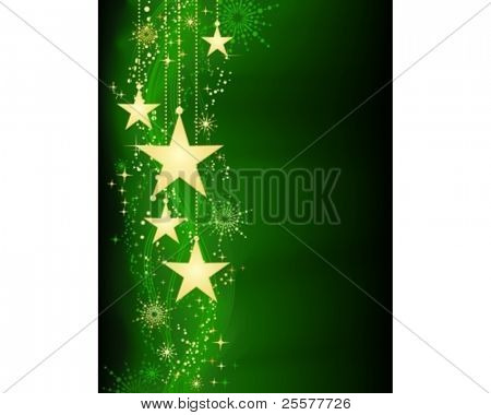 Festive dark green Christmas background with golden stars, snow flakes and grunge elements. Artwork grouped and layered. Background with blend and clipping mask. Use of linear and radial gradients.