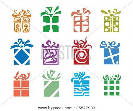 set of twelve vector gift boxes