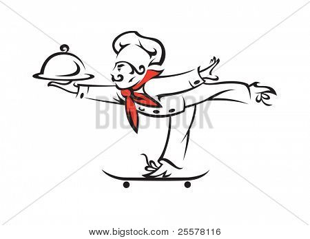 chef with tray of food in hand