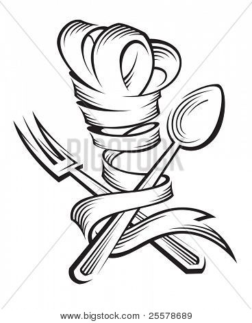 chef hat, spoon and fork