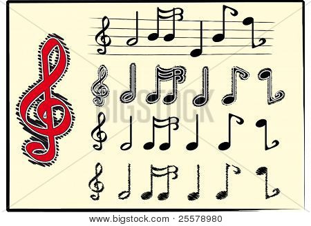 Musical notes. Set of musical notes