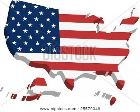 3D States. A three dimensional map of United States of America made in illustrator.