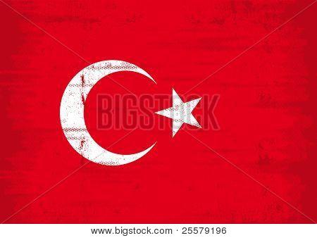 Bandera de grunge turco. Una bandera turca con una textura grunge.