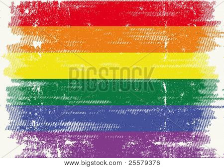 The Gay Flag With A Grunge Texture . .