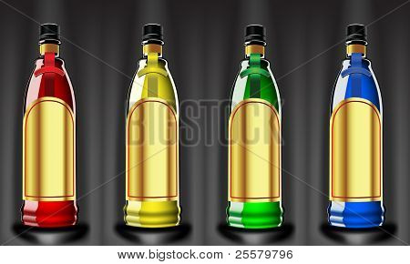 Vector color bottles