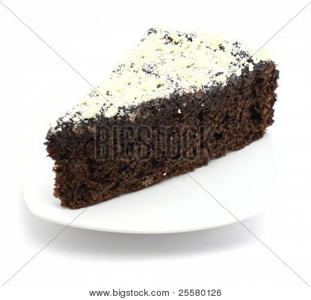 Choco cake with white chocolate on white background
