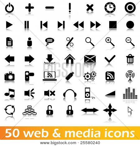 50 web and media vector icons