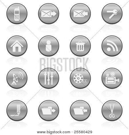 Metallic vector media icons set