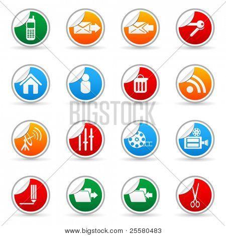 Vektor Medien Aufkleber Symbol für Web-Anwendungen (Satz 6)
