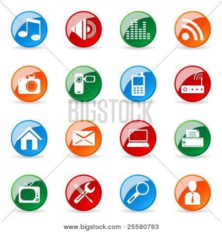 Colored and glossy vector icon (set 1)