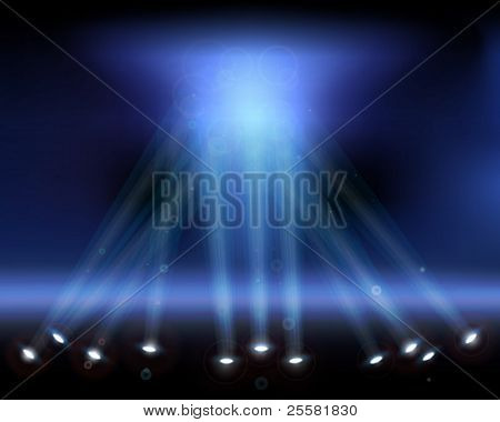 Spotlights in the sky. Vector illustration.