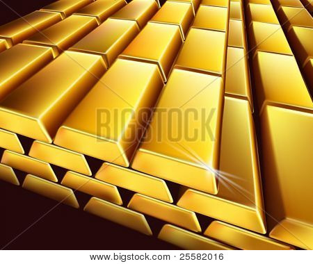 Gold bullion. Vector illustration.