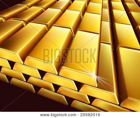 Gold bullion. Vector illustration.