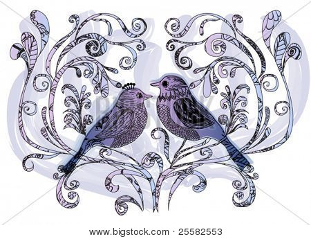 Hand-drawn birds perched on garden branches