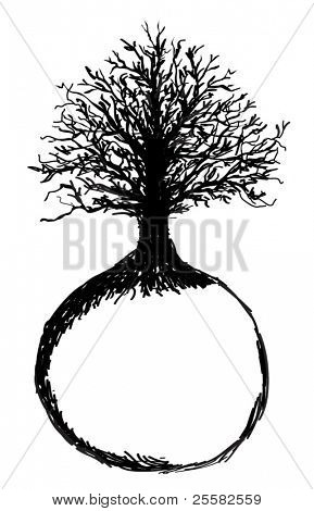 Hand drawn Tree of Life and Globe, sketch