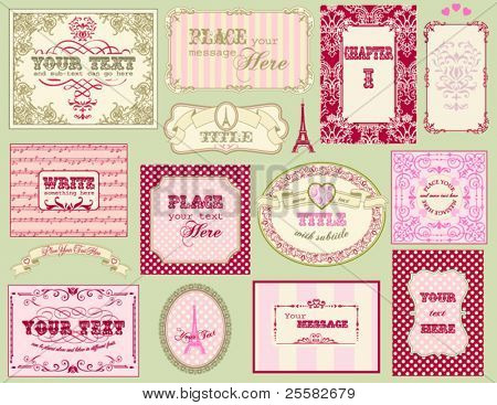 Vintage ornate frames and labels