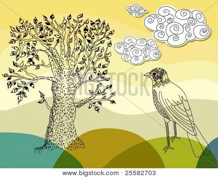 Sketch of a summer tree and a bird