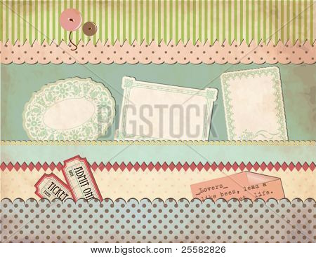 Grungy Vintage Scrapbook Set - Old Paper Pockets, Borders, Labels, Clothing Buttons, Tickets, Sayings, Patterned Scraps