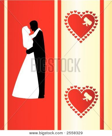 Valentine'S Card With Silhouettes.Eps