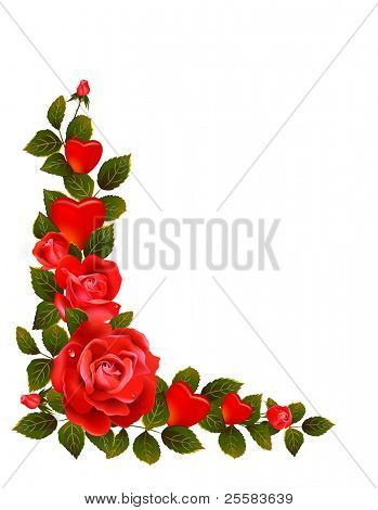 Red roses and leaves formative  comer