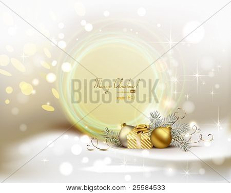 light Christmas background with two evening balls and gift