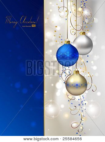 glimmered Christmas background with three evening balls