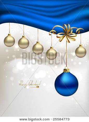 glimmered Christmas background with evening balls and blue special ball