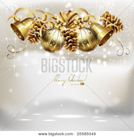 Festive balls,  bells and cones  on the Christmas background