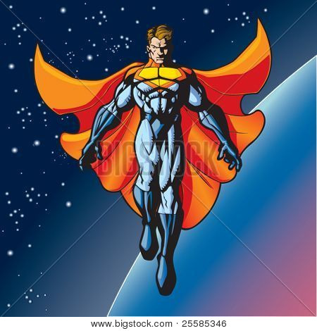 Generic superhero figure floating above a planet.