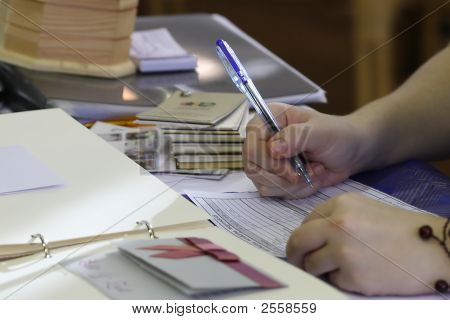 Writing Hand Of A Girl