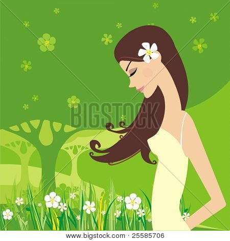 vector girl on summer background