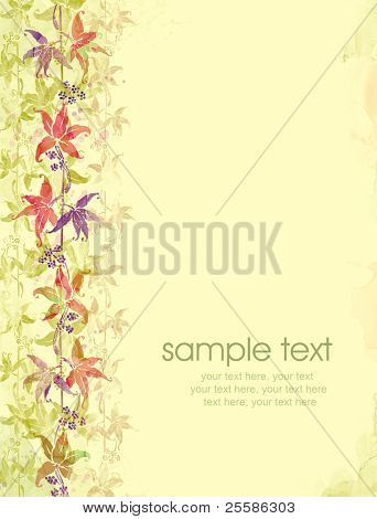 Painted watercolor card design with wild grape leaves and text