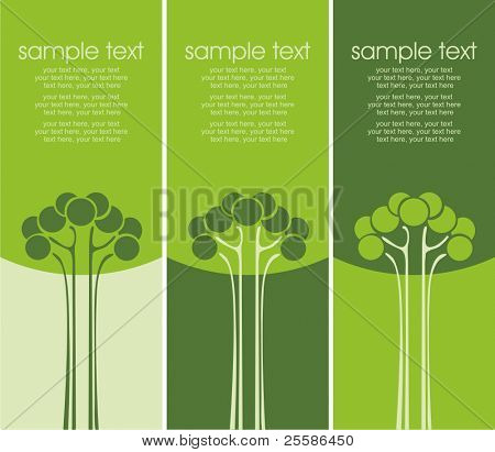 Three variants of cards with stylized trees and text