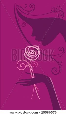 Female silhouette with rose