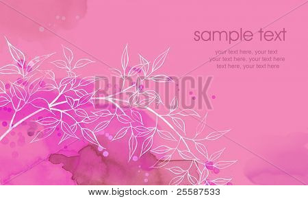 Painted watercolor card design with wild stylized leaves and text