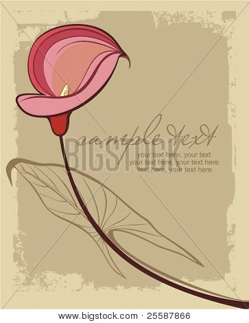 card with stylized calla lily and text