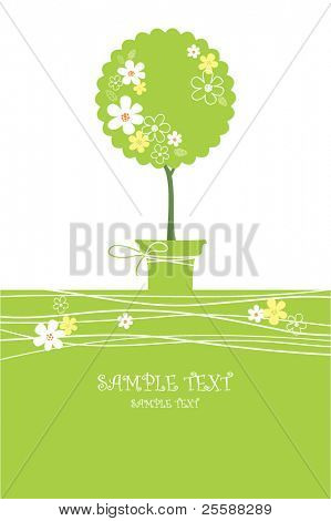 card with stylized tee in pot