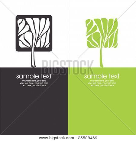 cards with stylized tree and text