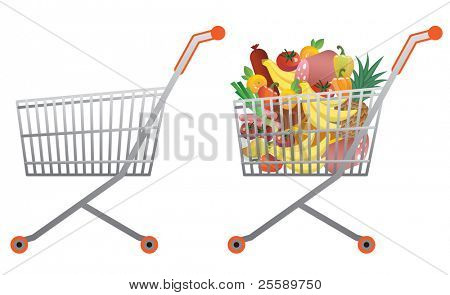 Full and empty  shopping cart vector