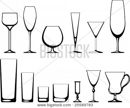 Different kinds of glass-wares