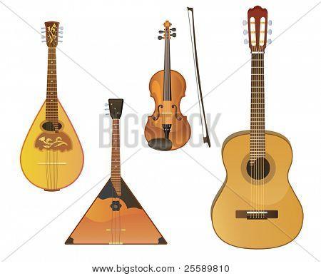 Vector music instruments: mandoline, balalaika, violin, guitar