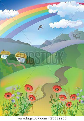 Village landscape with rainbow