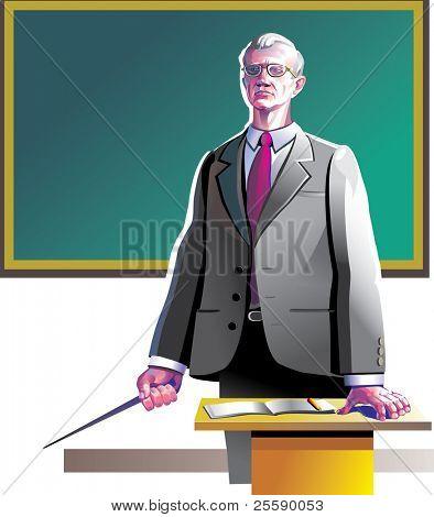 Old teacher near the blackboard