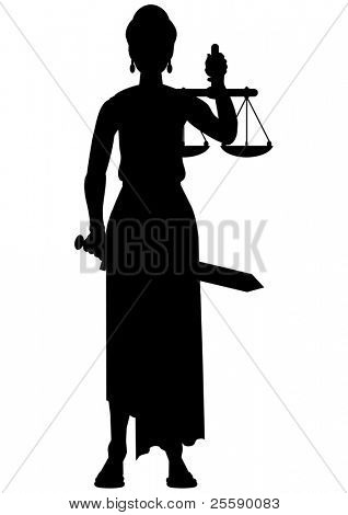Femida (themis) silhouette - a goddess of justice