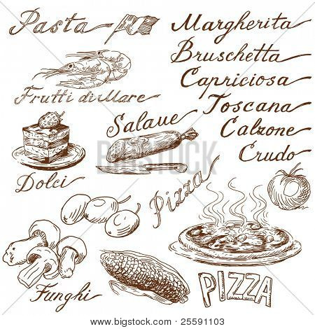 italian food doodles
